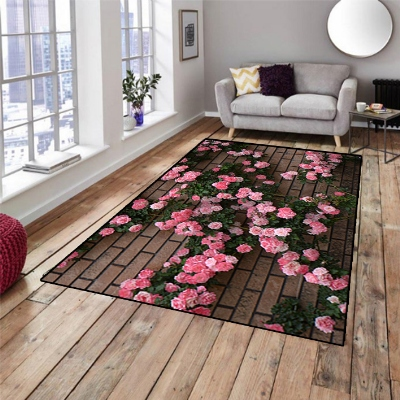 Else Brick Wall On Pink Ivy Roses Floral 3d Print Non Slip Microfiber Living Room Decorative Modern Washable Area Rug Mat