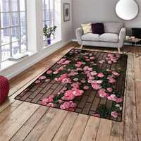 Sonst Ziegel Wand auf Rosa ivy Rosen Blumen 3d Print Non Slip Mikrofaser Wohnzimmer Dekorative Moderne Waschbar Bereich Teppich matte