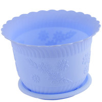 UXCELL Home Office Garden Plastic Floral Pattern Plant Flower Pot Sky Blue W Tray