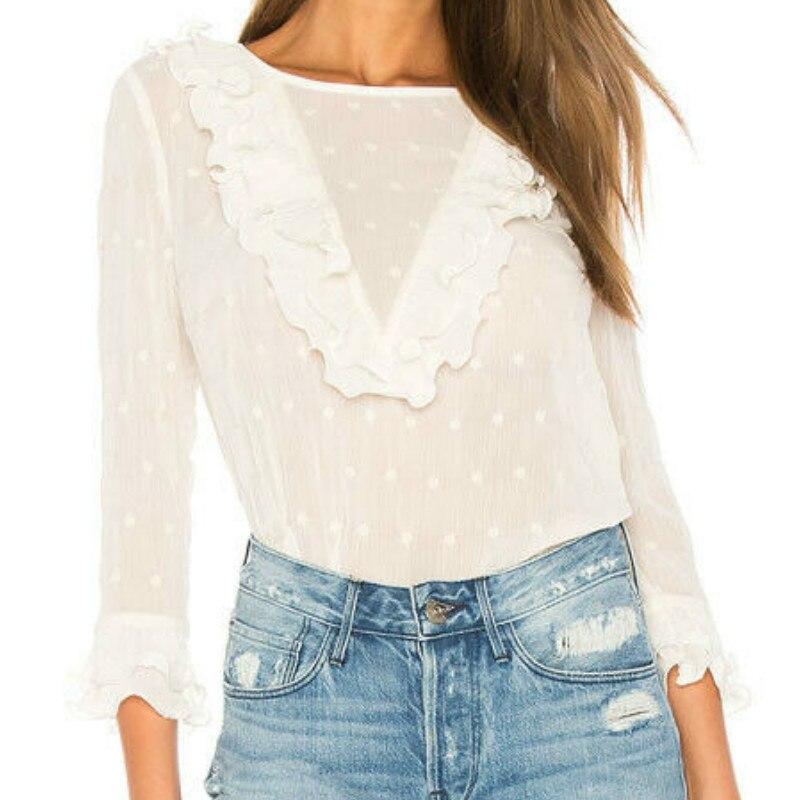 Womens Frill Pearl Shirts Ladies Ruffle Casual Blouse Long Sleeve Tops Autumn