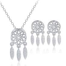 TJP Charm 925 Sterling Silver Women Wedding Party Jewelry Sets Vintage Lady Necklace Pendants Earrings Bijou Girl  Fridend Gift