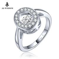 JO WISDOM 925 Silver Jewelry Premium Quality Natural Stone Ring Women Wedding Engagement Ring With Dancing