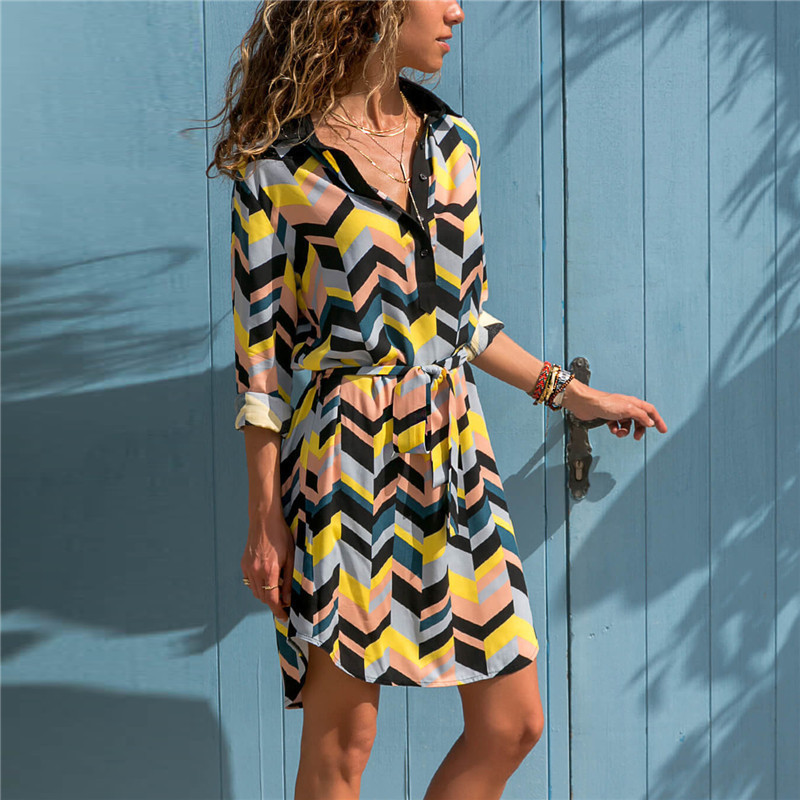 Long Sleeve Shirt Dress 19 Summer Boho Beach Dresses Women Casual Striped Print A-line Mini Party Dress Vestidos 14