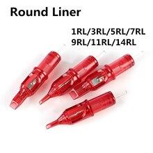10 ピースドラゴン火災タト針ラウンドライナー使い捨て半恒久眉毛メイク針 1RL/3RL/ 5RL/7RL/9RL/11RL