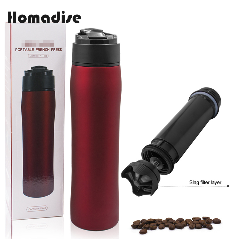 Homadise Portable Method Pressure Pot Stainless Steel Fine Mesh Filter Tea Cup Coffee Filter Vacuum Flasks Cold Cup