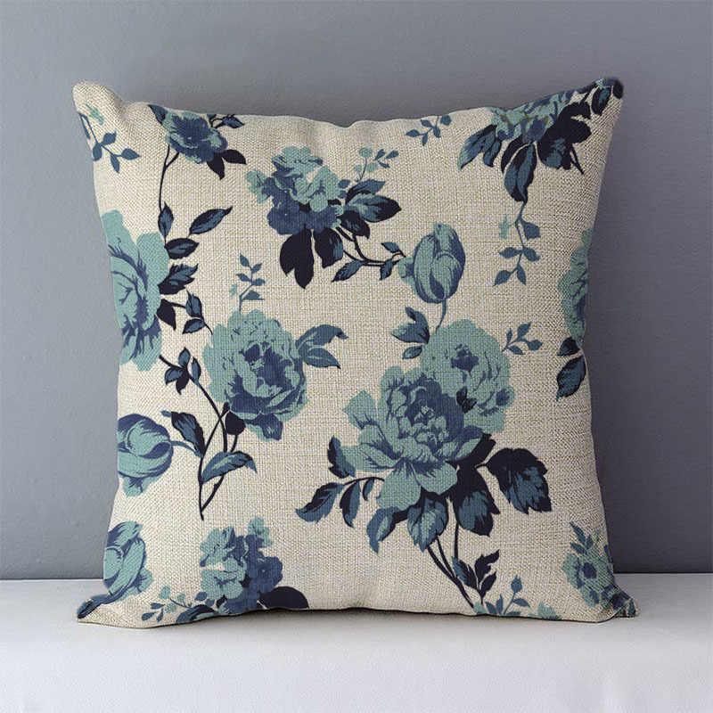 2019 Rumah Dekoratif Bantal 45X45 Cm Sofa Bantal Kapas Linen Bantal Case Vintage Bunga Dicetak Sarung Bantal untuk Ruang Tamu kamar Yl
