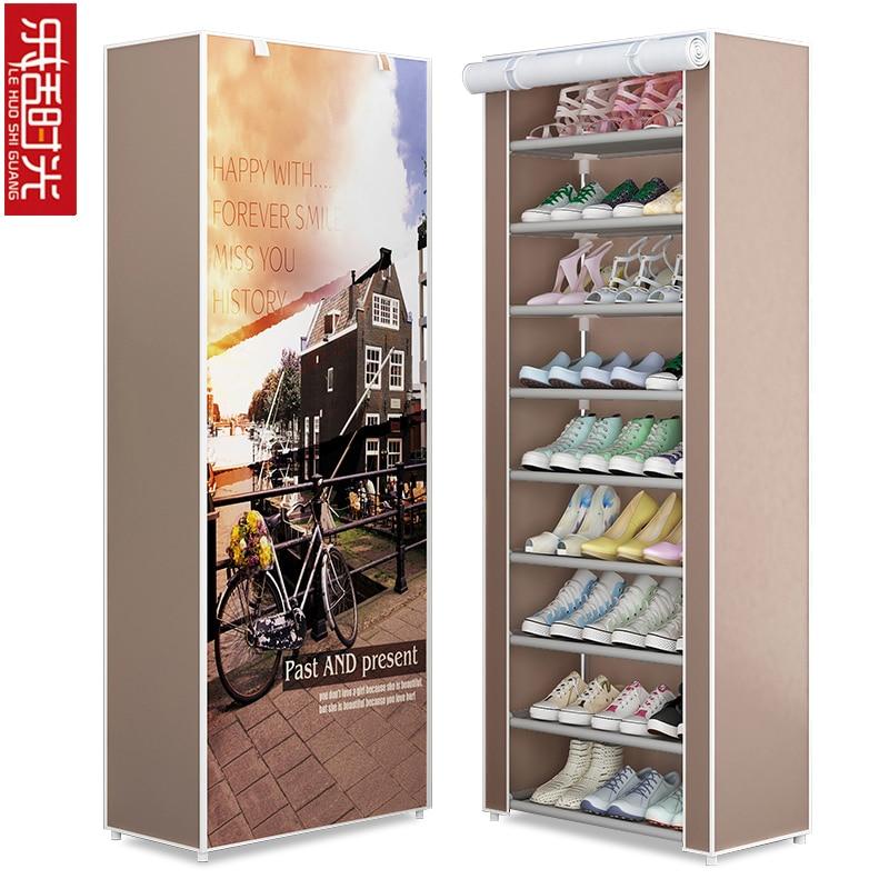 Simple Multi Layer Shoe Rack Oxford Cloth Galvanized Tube Assembled Storage Cabinet Dorm Shoes Shelf Closet for Home Furniture
