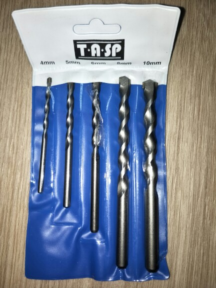 TASP 5pcs Masonry Drill Bits Tungsten Carbide Tipped Concrete Drilling Set Size 4/5/6/8/10mm Power Tool Accessories -MDBK018