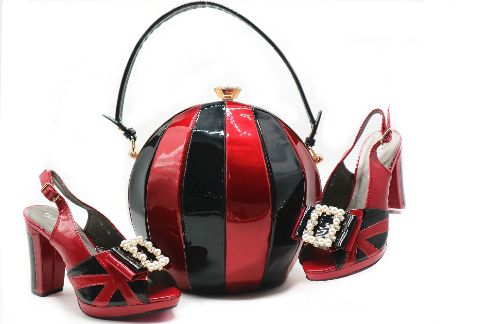 Mixed color wine black shoes and bag matching set ball clutches italian new  design shoes and 35fc3897fee6