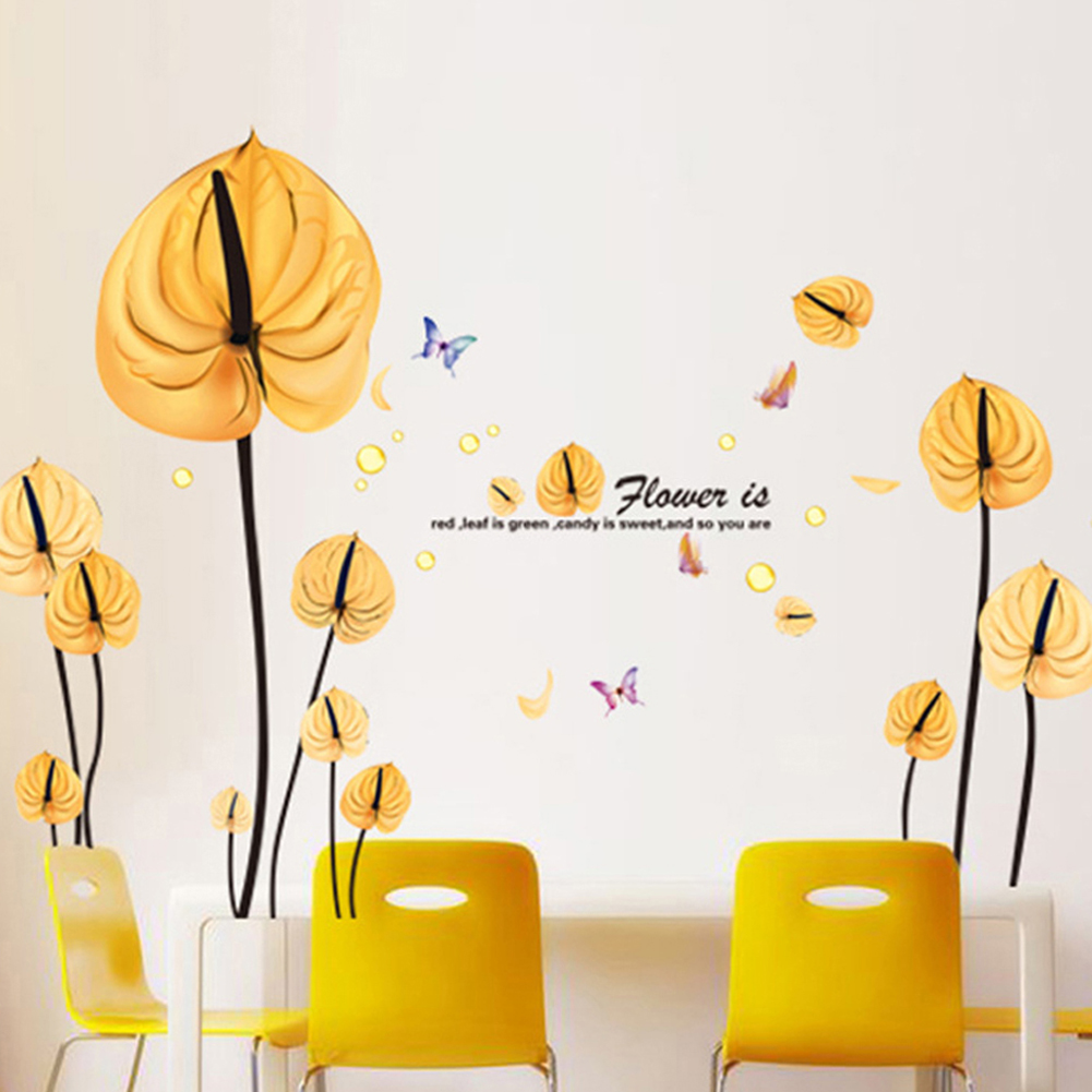 compare prices on yellow wall decor online shopping buy low price new combination of wall stickers bedroom living room sofa wife leaf background wall decoration sticker yellow