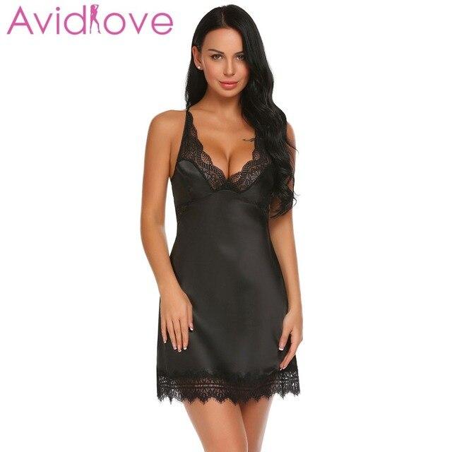 f037f55c2a Avidlove Summer Nightwear V-neck Night Dress Women Sleepwear Satin Lace  Patchwork Sexy Spaghetti Strap Chemise G-string Lingerie