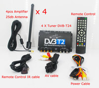 HDTV Car DVB T2 DVB T MULTI PLP Digital TV Receiver automobile DTV box With 4 Tuner Antenna