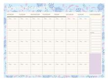 Блакитна птиця та квіти Дизайн квітковий місячний планувальник аркушів 21 * 28,5см без дати DIY Місяць планувальник подарунок