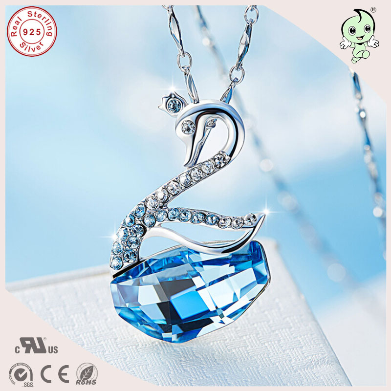 NEW Popular Best Silver Jewelry Gift Beautiful Famous Crystals 925 Sterling Silver Swan Pendant Necklace For Grils