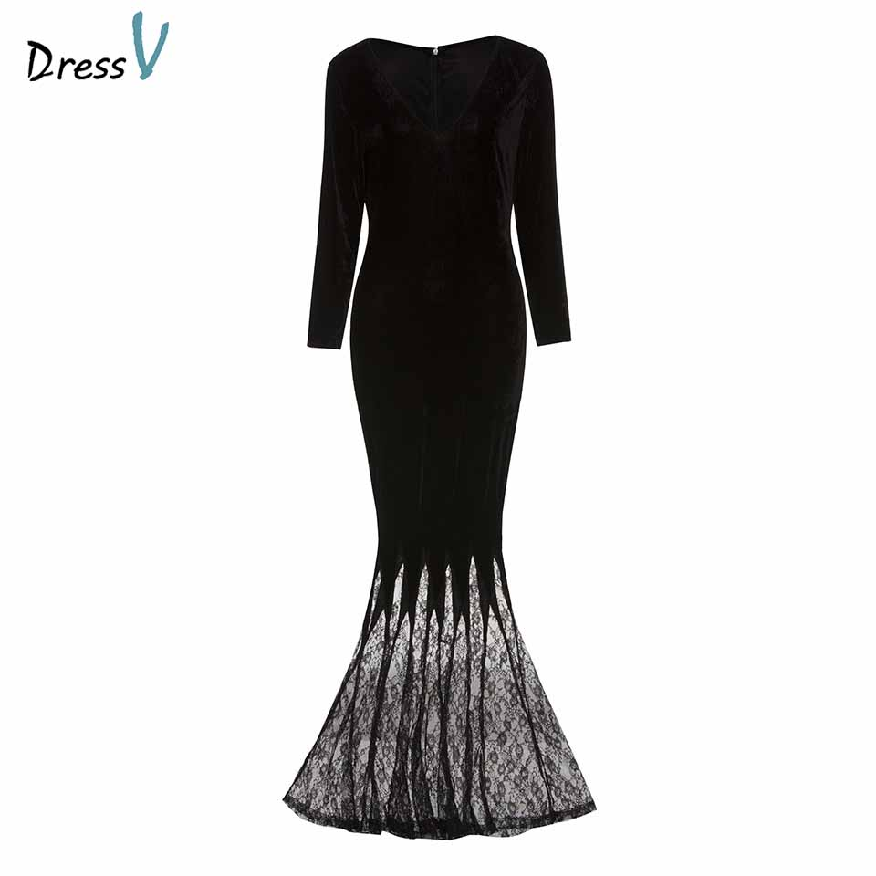 Dressv black   evening     dress   cheap v neck lace long sleeves mermaid floor length wedding party formal   dress     evening     dresses