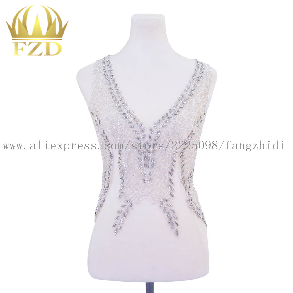 Handmade Silver embroidery sew on Rhinestone Patch For Wedding Dress and Evening Dress DRA 124