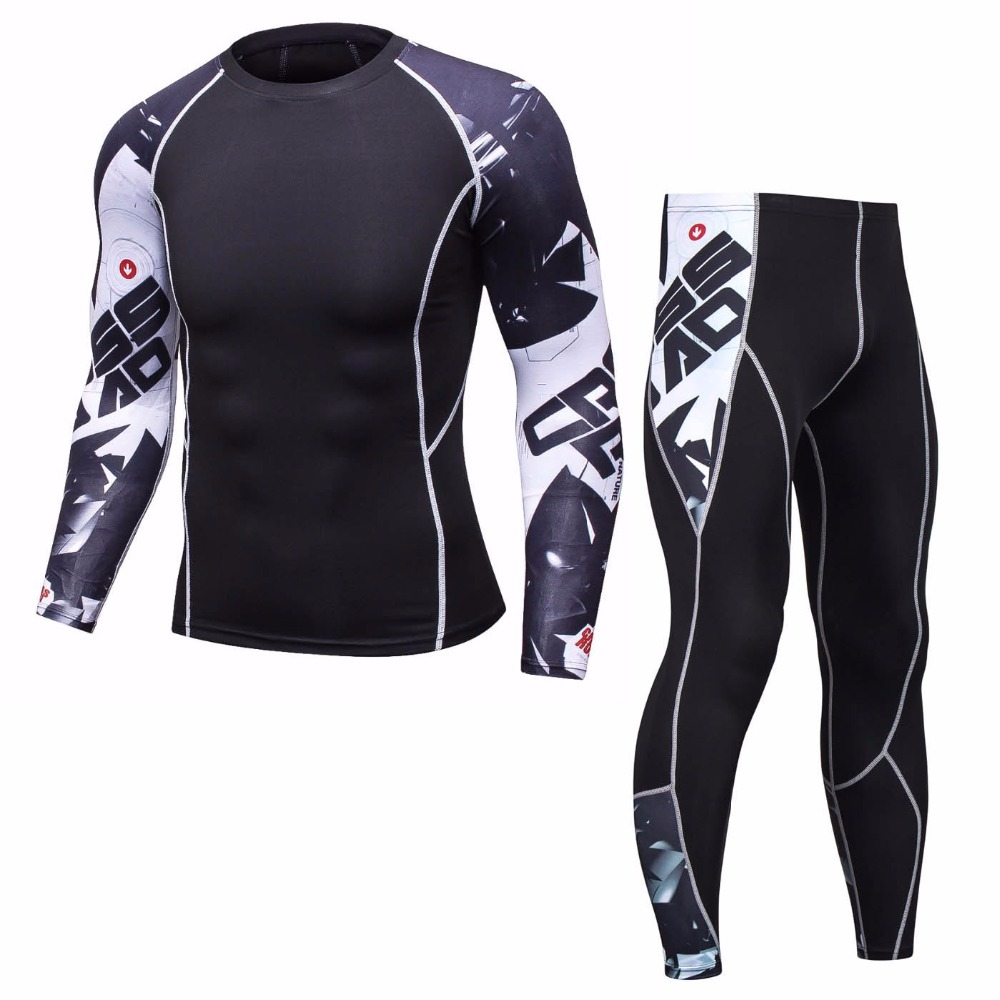New Fitness Compression Men Set Long T Shirt Men Set 3D Printed MMA Crossfit Muscle Tracksuit Men Leggings Tight Track Suit Tops