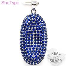 5.2g Luxury Tanzanite Gift For Ladies Guaranteed Real 925 Solid Sterling Silver Pendant 38x16mm