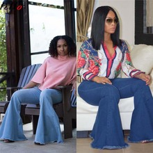2 colors optional fashion jeans spot high elasticity wide leg pants flared wild ladies quality street sexy wi