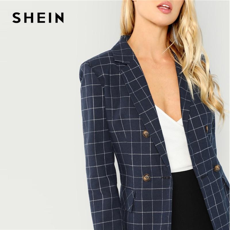 Shein Navy Cotton Office Lady Elegant Notched Neck Plaid Double Breasted Blazer Women Pocket Autumn Minimalist Coat Outerwear #6