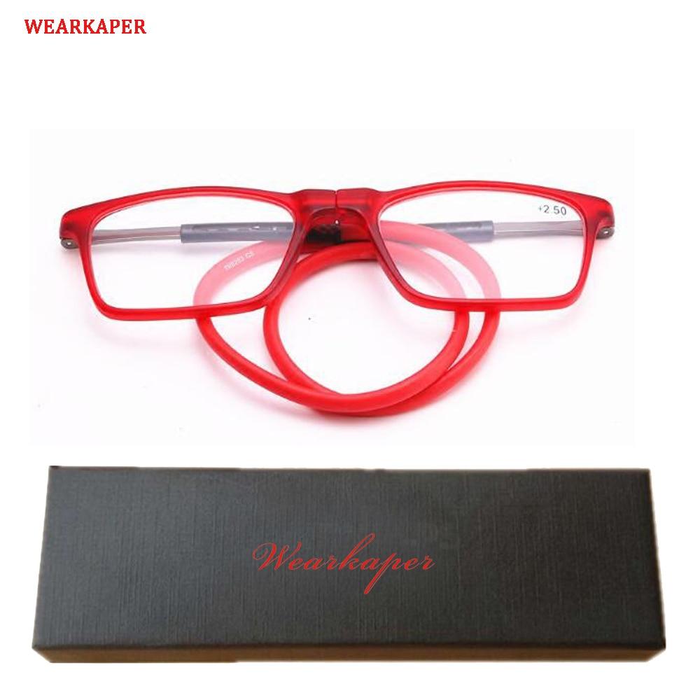 WEARKAPER Magnética Gafas de Lectura Hombres Mujeres Gafas de Lectura Plegable Ajustable Cuello Halter Vasos Magnéticos