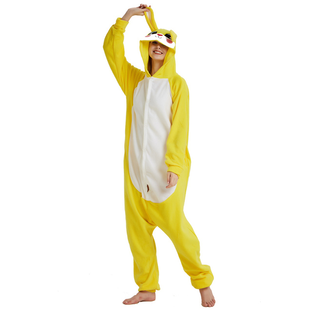 727cd7474290 Soft Fleece Yellow Bunny Kigurumi Women Pajamas Rabbit Onesie For Adult  Winter Home Cosplay Costume Party Jumpsuit Halloween