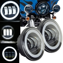 7″ Inch 60w for Harley moto LED Headlight+ 2x 4.5″ 30w Fog Light Passing Lamps for Harley Motorcycle