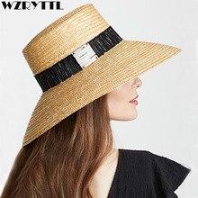 Natural Floppy Women Summer Hat Ladies Sun Hat Woven Wide Brim Hat with Textured Black Whi