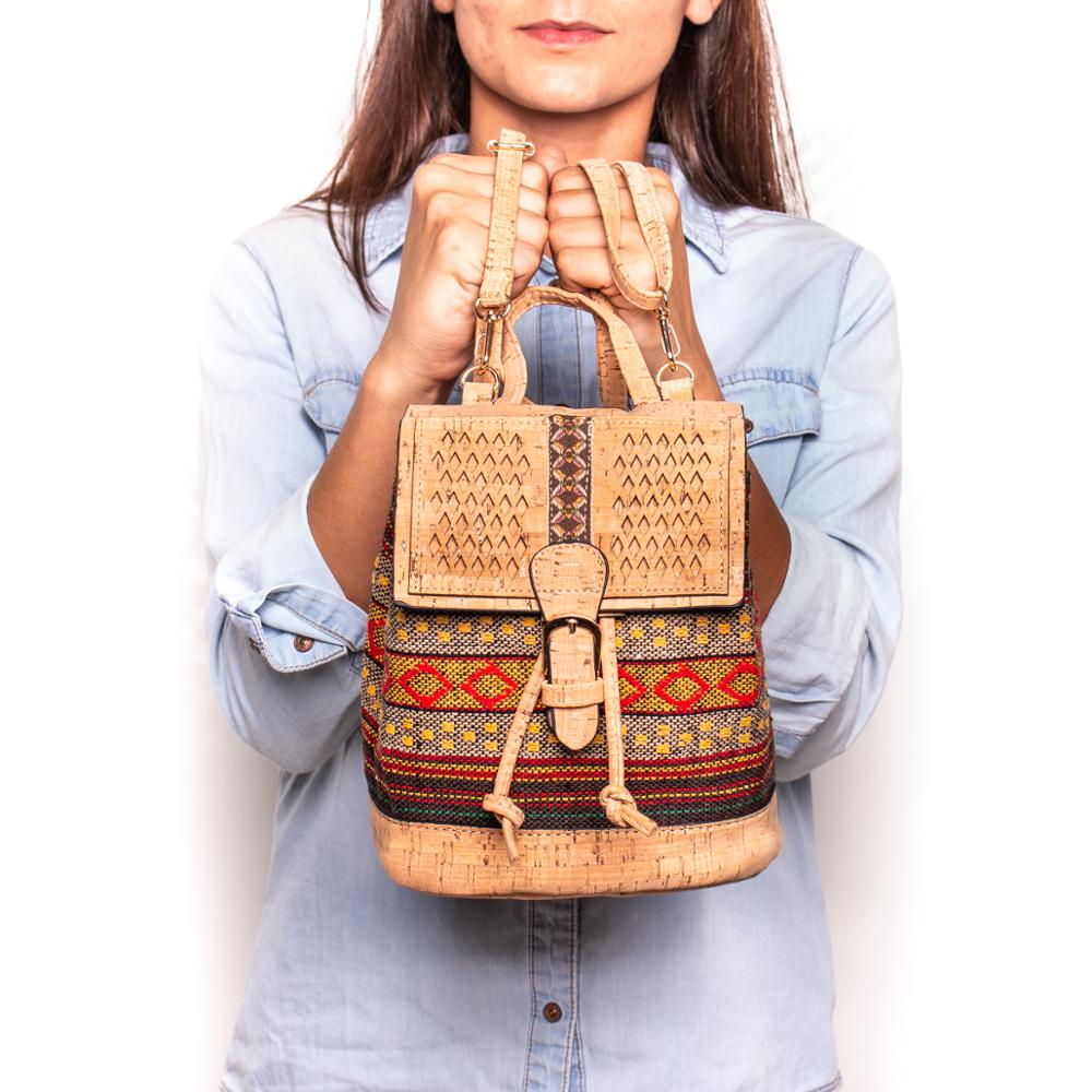 Cork Backpack Colorful Textile Eco Vegan Women Vintage Girls Backpack Cotton Bag Casual Backpack Laser Cut Patte Cork Bag OY-003