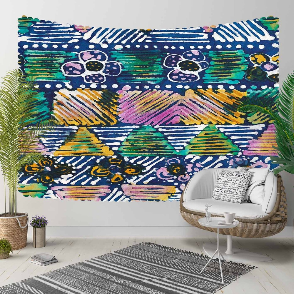 Else Blue Purple Yelow Stripe Lines Flower Geometric 3D Print Decorative Hippi Bohemian Wall Hanging Landscape Tapestry Wall Art