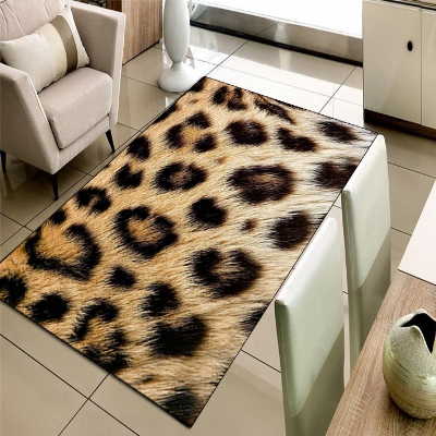 Else Brown Yellow Leopard Animal Fur 3d Print Non Slip Microfiber Living Room Decorative Modern Washable Area Rug Mat