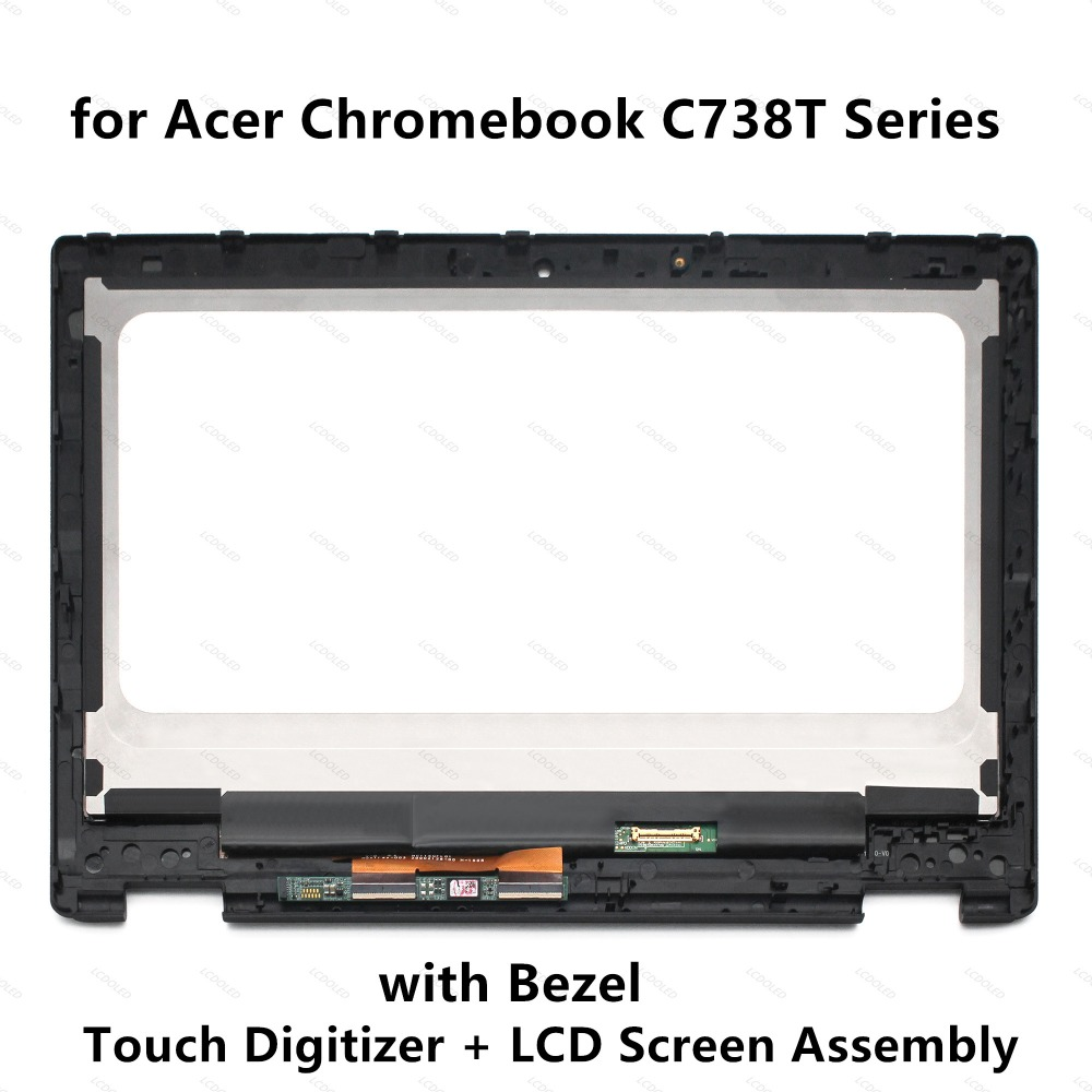 11.6'' LCD Screen Display Touch Glass Digitizer Assembly+Frame for Acer Chromebook R 11 C738T