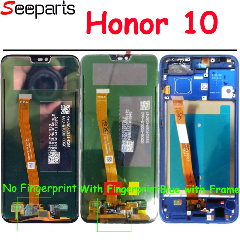 Originale Testato Al 5.8 Per Huawei honor 10 honor 10 Display LCD + Touch Screen Digitizer Assembly Rimontaggio + impronte digitali COL-L29Originale Testato Al 5.8 Per Huawei honor 10 honor 10 Display LCD + Touch Screen Digitizer Assembly Rimontaggio + impronte digitali COL-L29