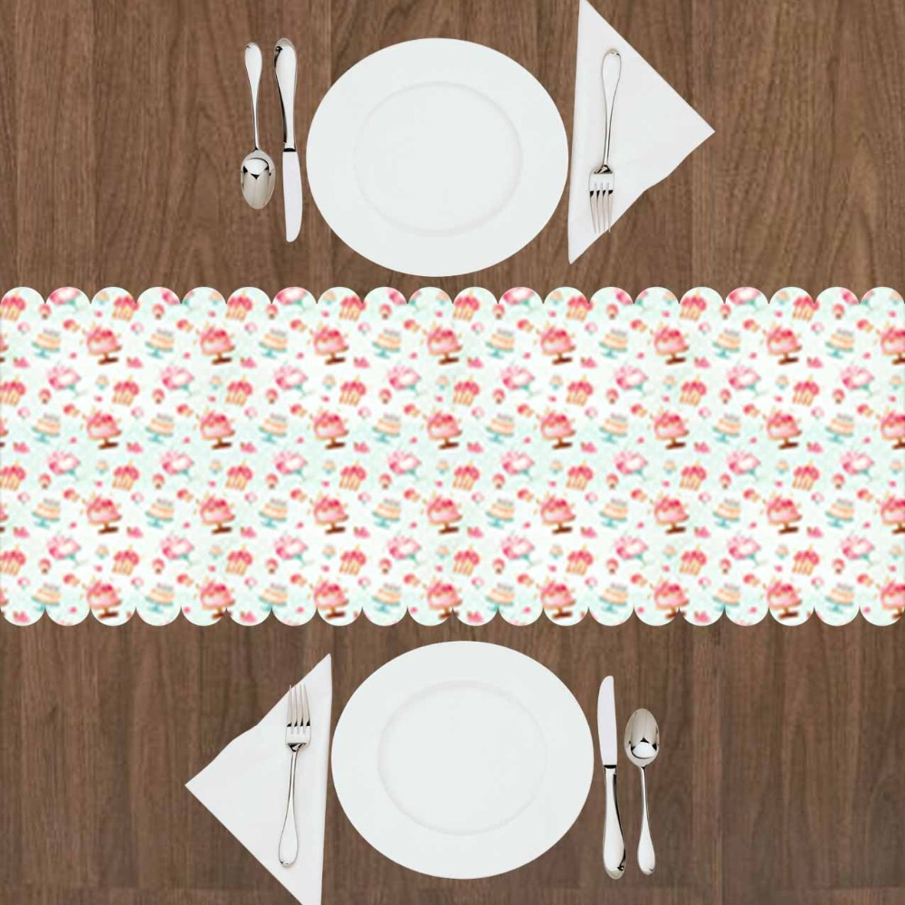 Else Pink Little Cup Cakes Vintage Sweet Candy  3d Print Pattern Modern Table Runner  For Kitchen Dining Room Tablecloth