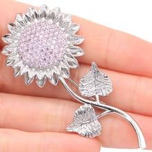 SheCrown Big Sunflower 10.2g Pink Kunzite Wedding Womans 925 Silver Brooch 66x30mm