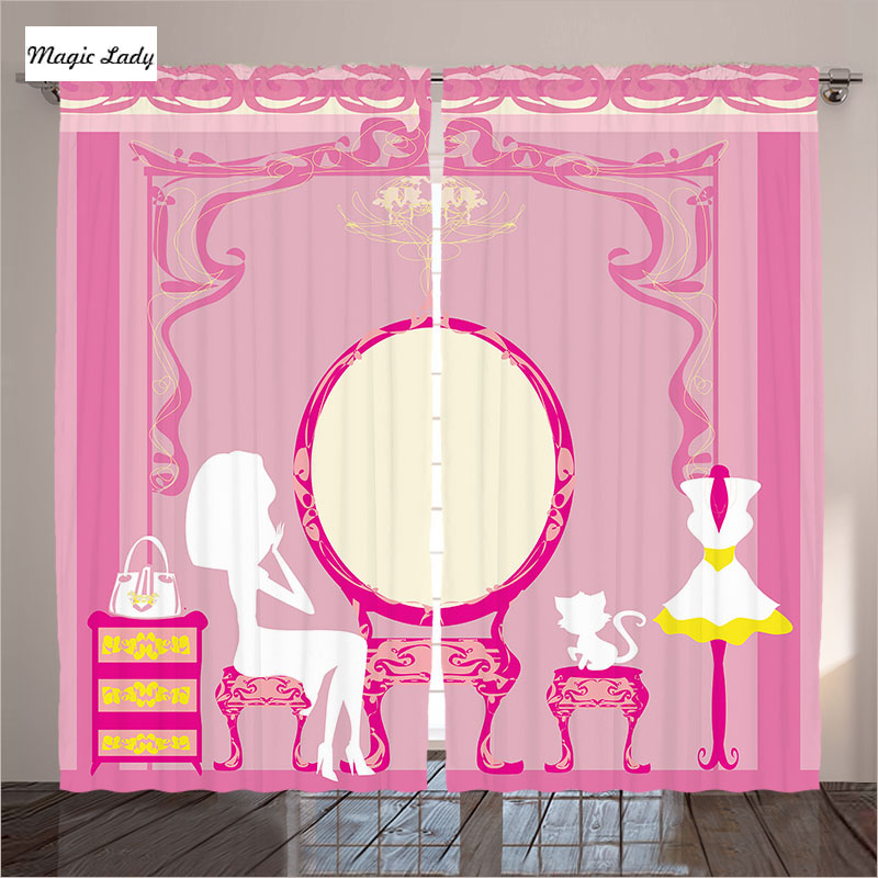 Pink Blackout Curtains Living Room Bedroom Lady French Cosmetic ...