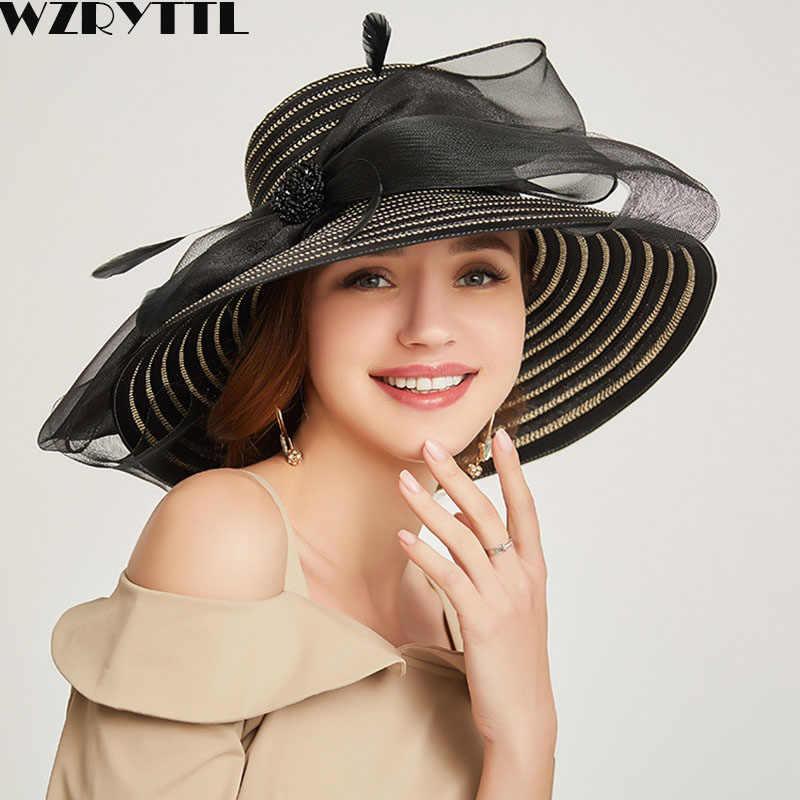 1d6fceded FGHGF Women's Kentucky Derby Hat Luxury Ruffle Brim Floral Aside ...