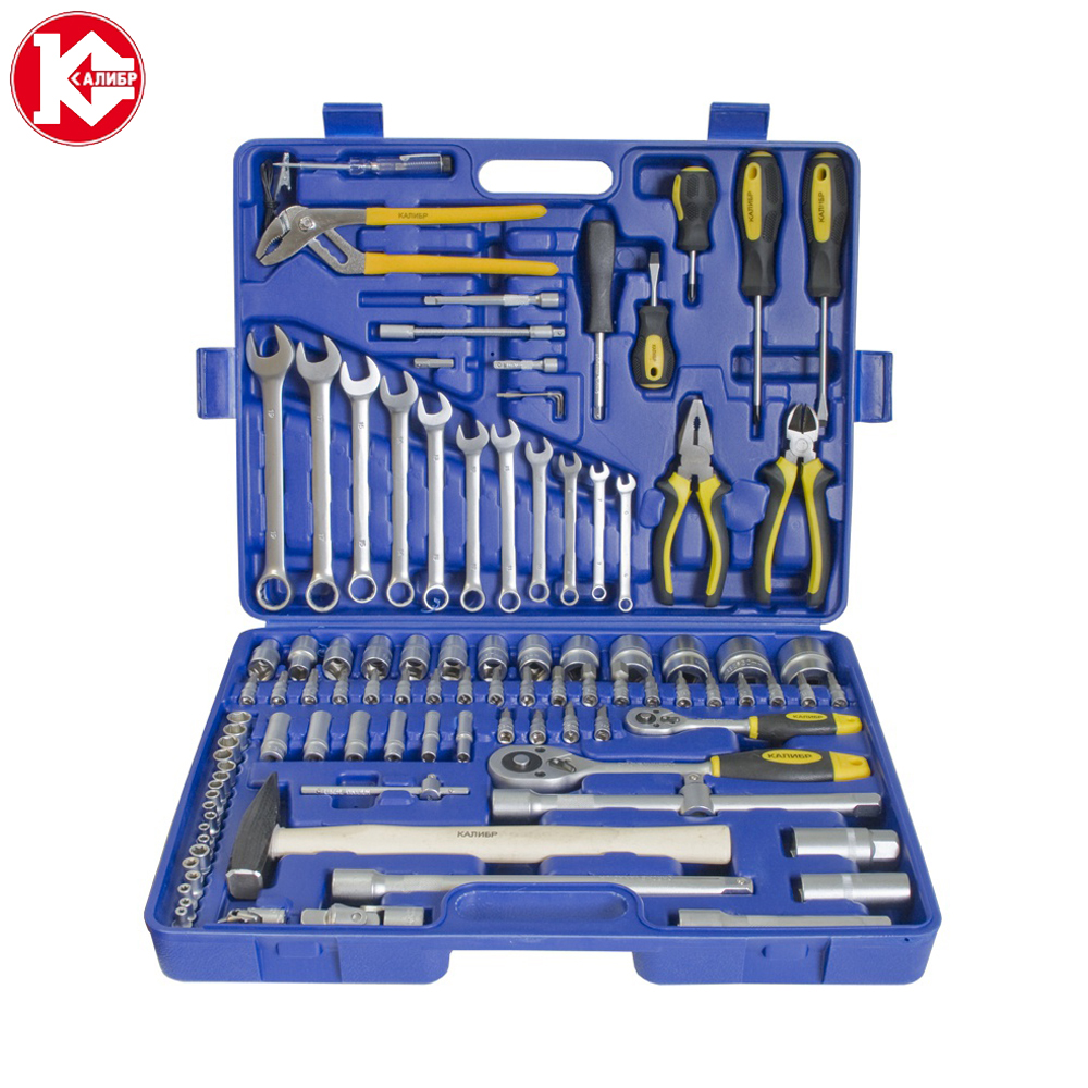Cr-v hand tools set Kalibr UNSM-99, 99pc Spanner Socket Set Car Vehicle Motorcycle Repair Ratchet Wrench Set  8mm 9mm 10mm cr v triple socket spanner