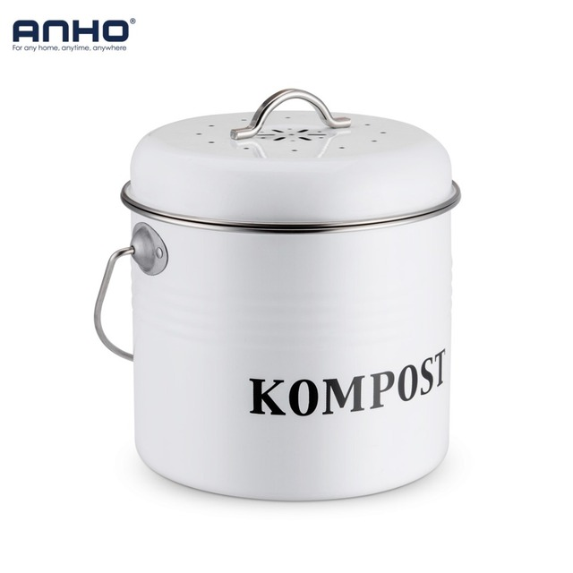 Compost Bin For Kitchen Accesories 5l Organic Homemade Trash Can Melons Leaves Outdoor Countertop Iron Round Charcoal Filter Bucket