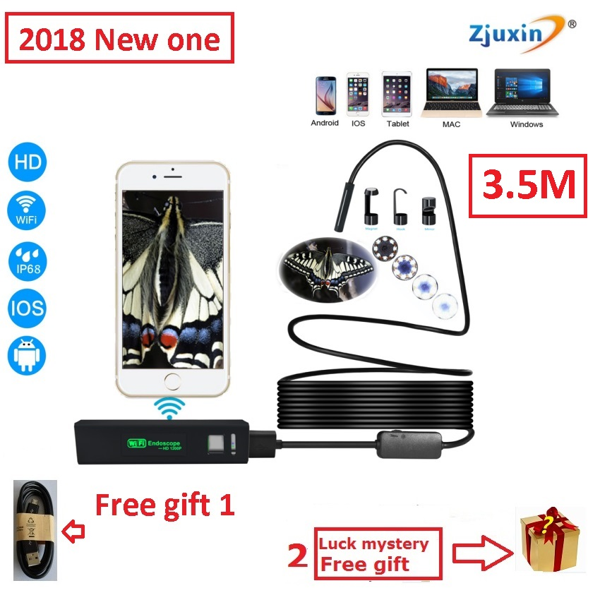 3.5M WIFI Endoscope New Camera 8mm HD Lens USB Iphone Android endoscope Tablet Wireless Endoscope wifi softwire 3 5m wifi endoscope new camera 8mm hd lens usb iphone android endoscope tablet wireless endoscope wifi softwire
