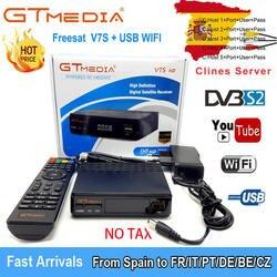 Спутниковый Декодер TV приемника Freesat V7S HD DVB-S2 + USB инъекций рецепторов с 1 год 4 линий Европа Клайн учетной записи Поддержка Powervu