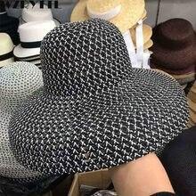 2019 yeni kadın plaj şapkası geniş ağızlı hasır şapka Anti UV UPF50 disket güneş şapkası kap katlanabilir yaz şapka Kentucky Derby serbestçe nefes