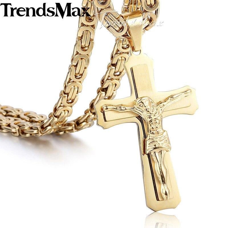 trendsmax 55 см да христа с крестом подвески для для мужчин цвета: солист, Celebrity нержавеющая сталь видения для мужчин colon ювелирные изделия kp483