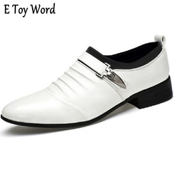 The fashion leisure men s leather shoes white black fold belt buckle decoration tip size 39.jpg 250x250