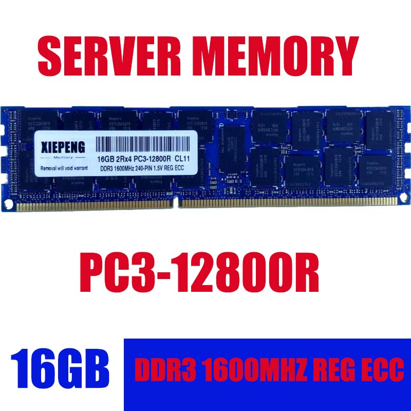 Server Memory 16GB 2Rx4 PC3-12800R REG ECC RAM 1.5v 240-Pin 32gb 48GB DDR3 1600MHz RDIMM for Server & workstation