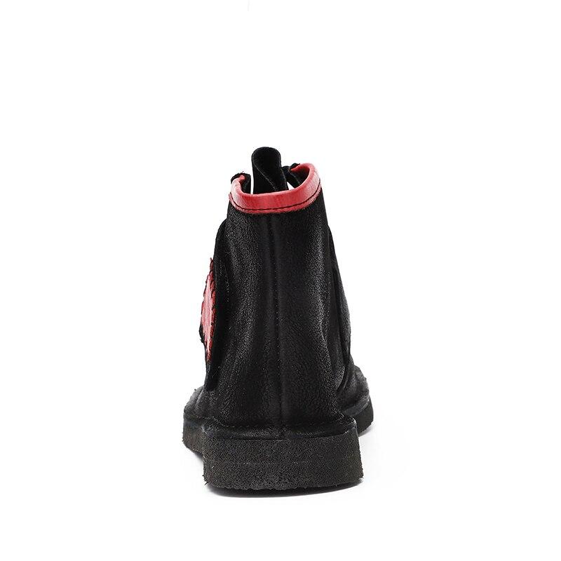 Madame Bout Cuir Vintage Noir Chaussures Talons Pour En À 2018 Véritable Tape Vallu Magic Femmes Femme Design Bottines Carré Chaussons fyYg6v7b