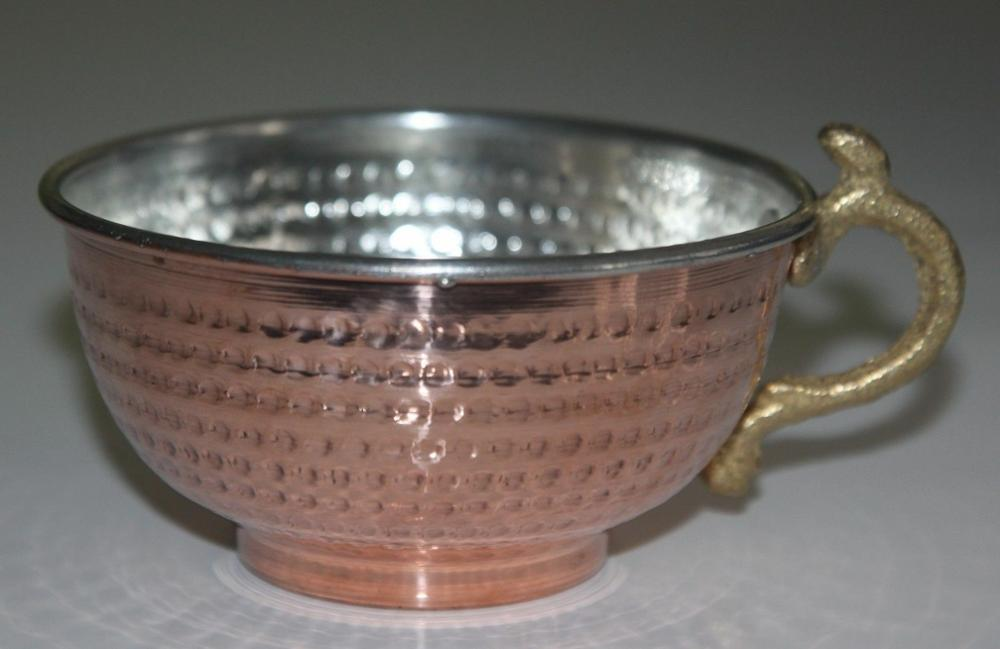 Copper Shaving Bowl / Mug / Cup With Handle, For Shaving Brush Track