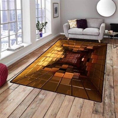 Else Yellow Box Cubes Whirlpool 3d Pattern Print Non Slip Microfiber Living Room Decorative Modern Washable Area Rug Mat