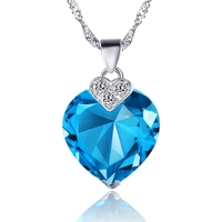 Fashion Necklaces For Women 2015 Simulated Gemstone New Bijuterias Collares Populares Heart Chain Blue Purple Red