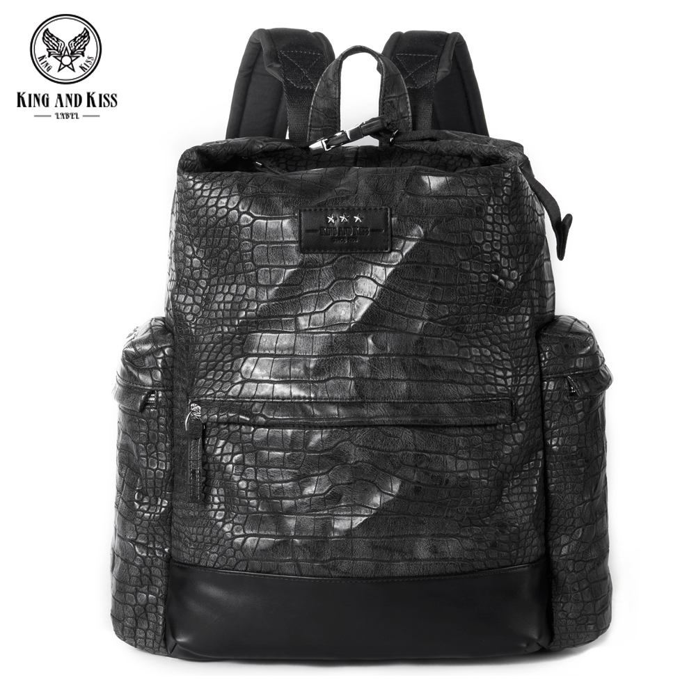 King and Kiss PU soft leather men Backpack Black crocodile pattern embossed fashion youth tide package
